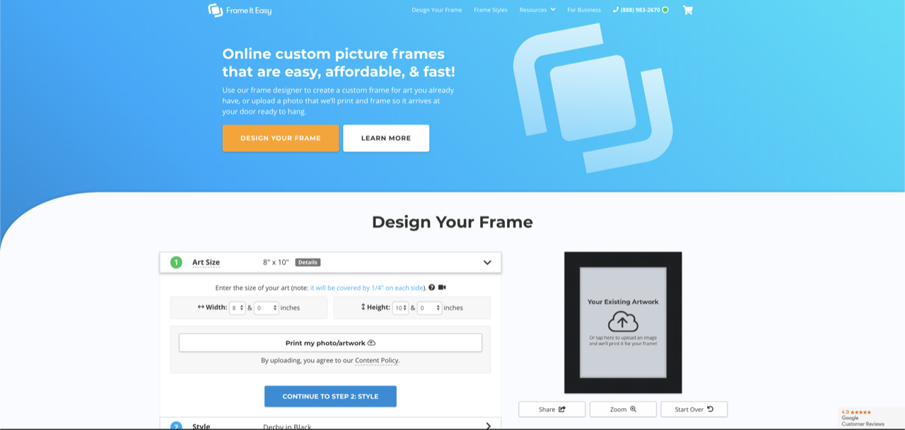 Frame It Easy home page