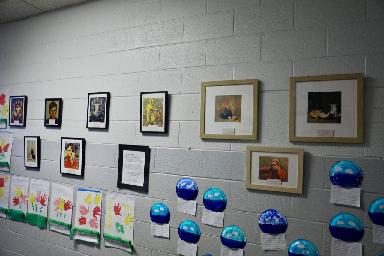 Framed pieces at art exhibit