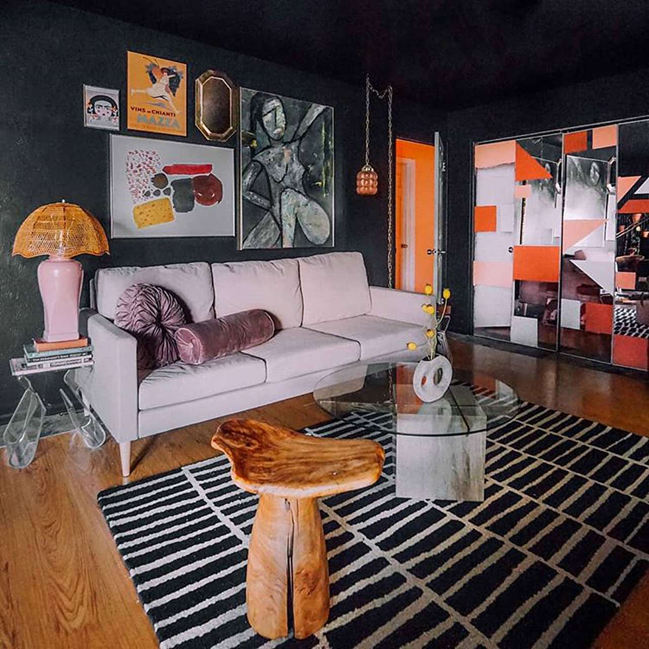 dark walls with bright accents