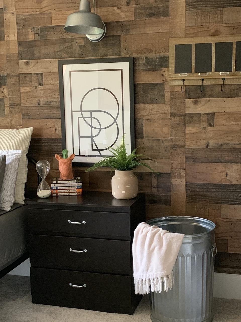 black frame on wood walls