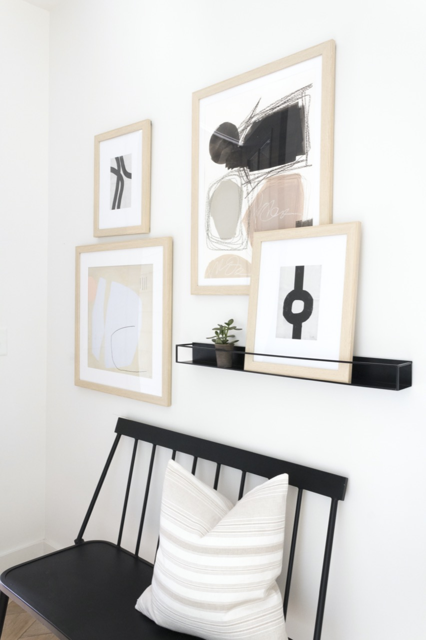 black accents with honey frames