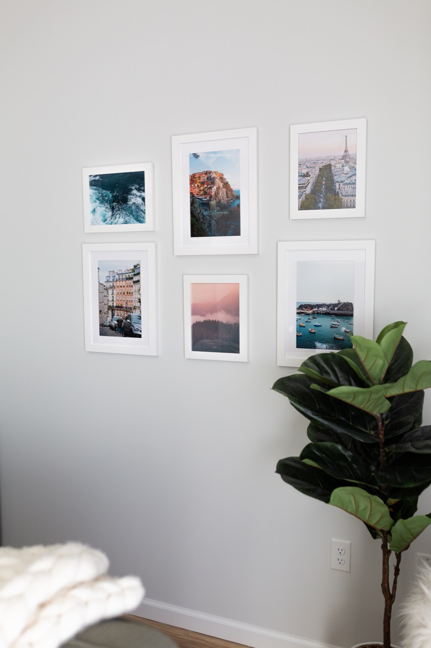 travel gallery framed wall in white