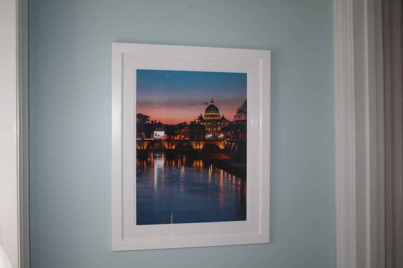 Rome at night framed in white