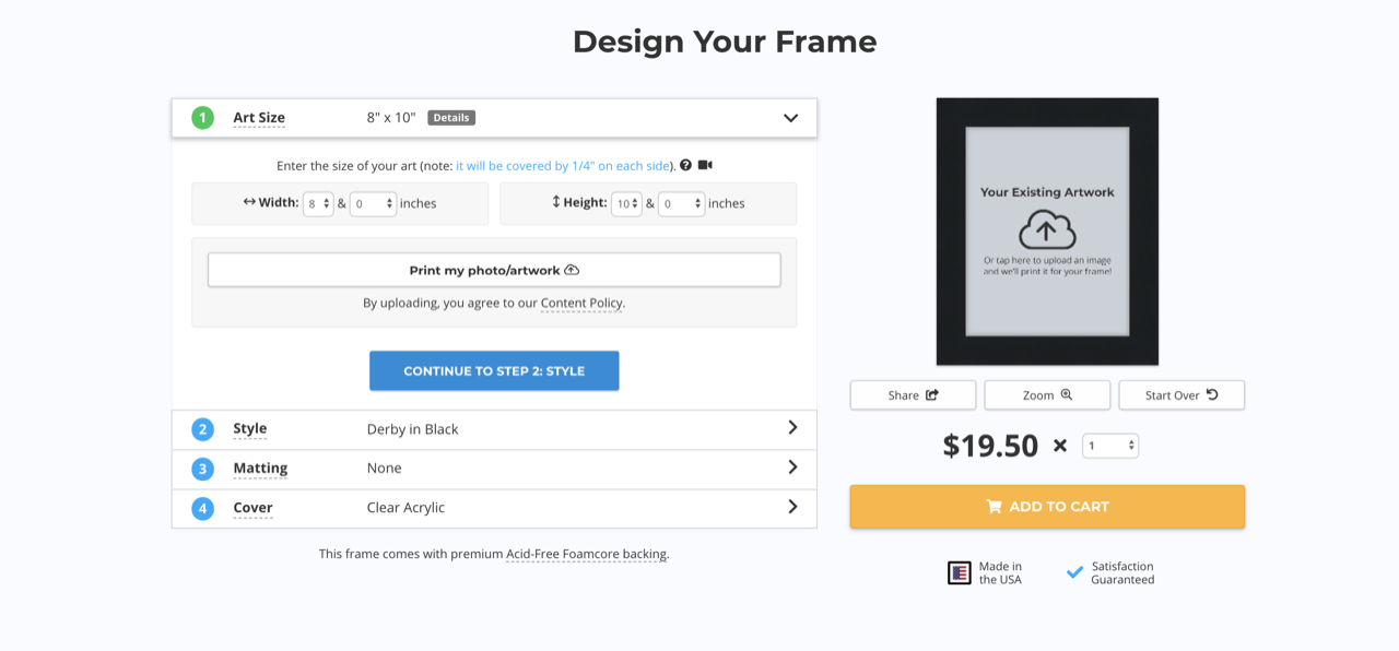 design your frame page on Frame It Easy