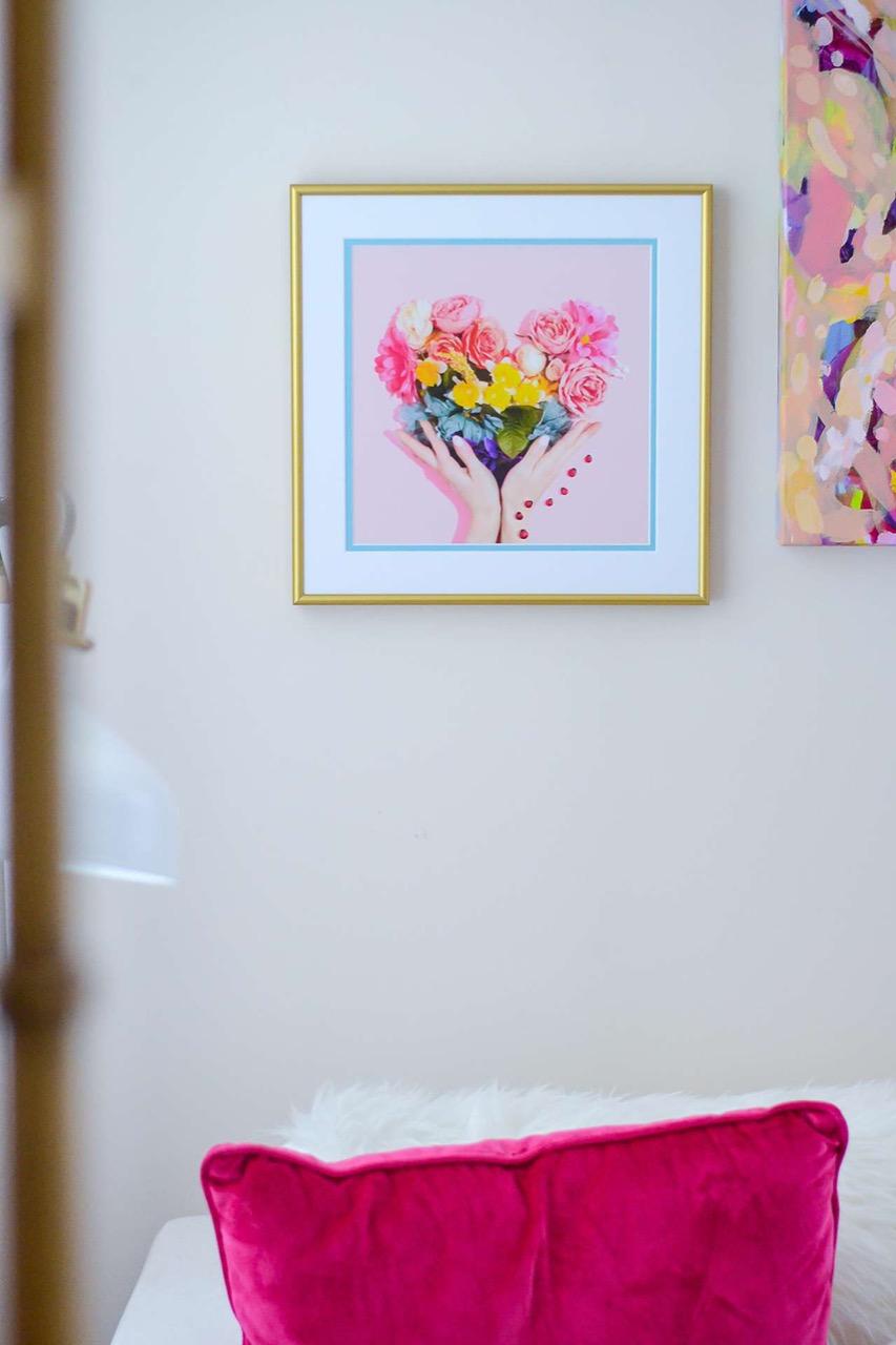 flower heart gold framed