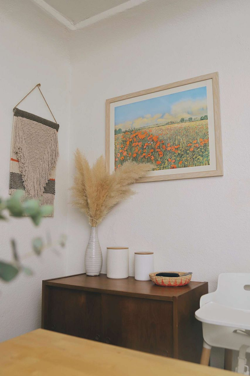 large frame on wall
