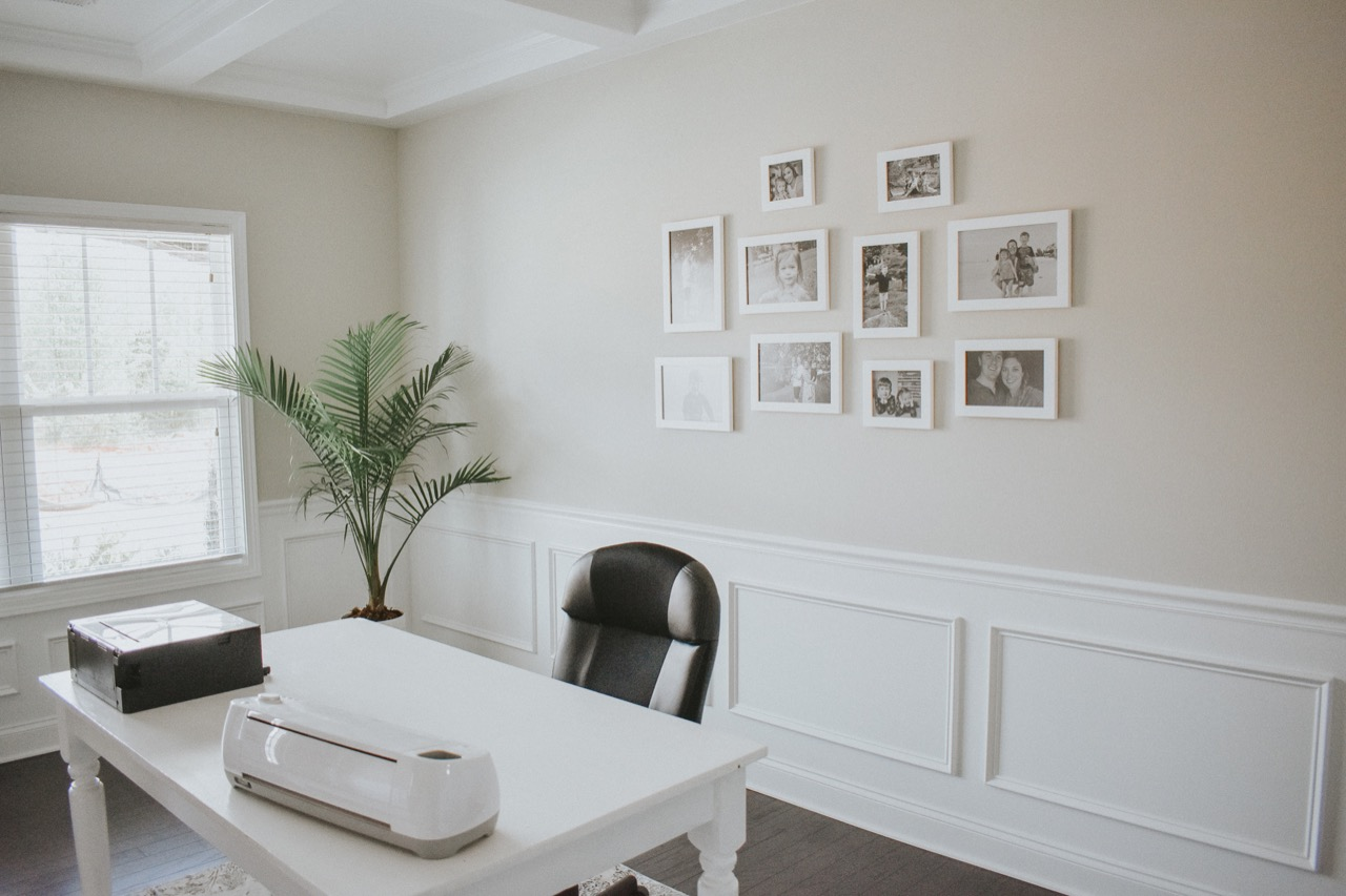 office gallery wall for small black and white photos