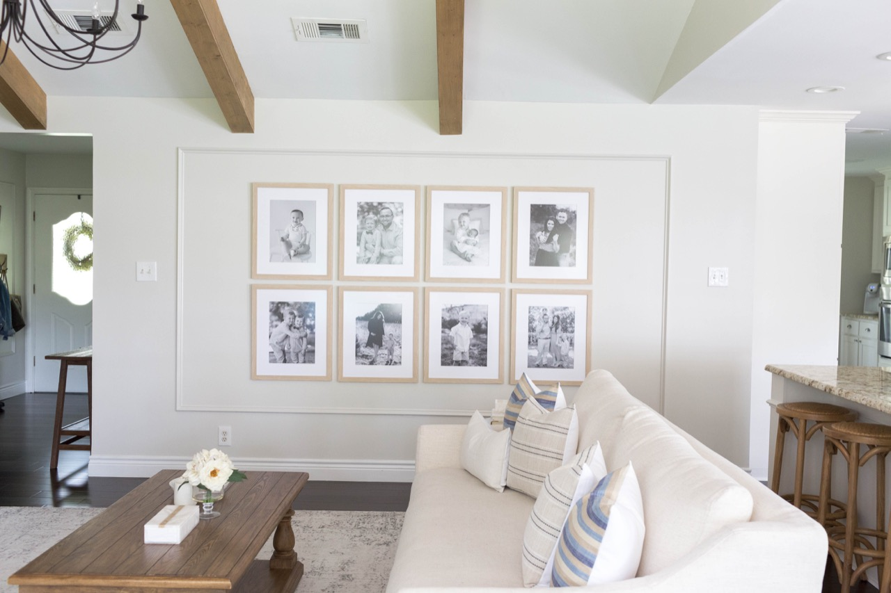 gallery wall of wood frames