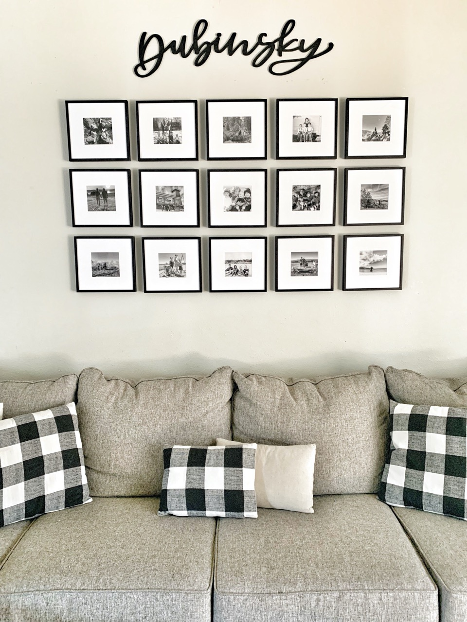 large gallery wall for small black and white photos