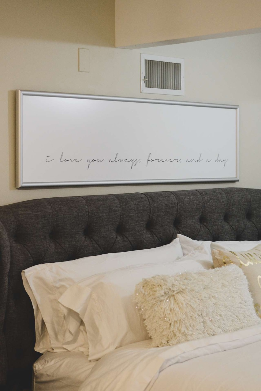 large picture above bed