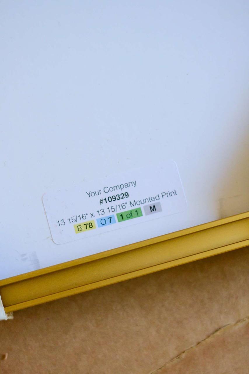 white labeling on frame