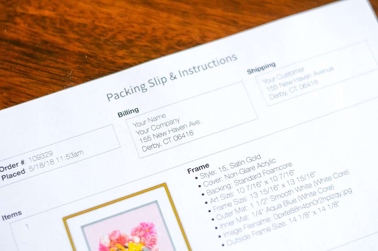 white labeling packing slip