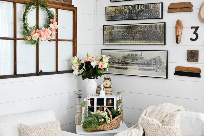 Corner inside farmhouse style home with framed art