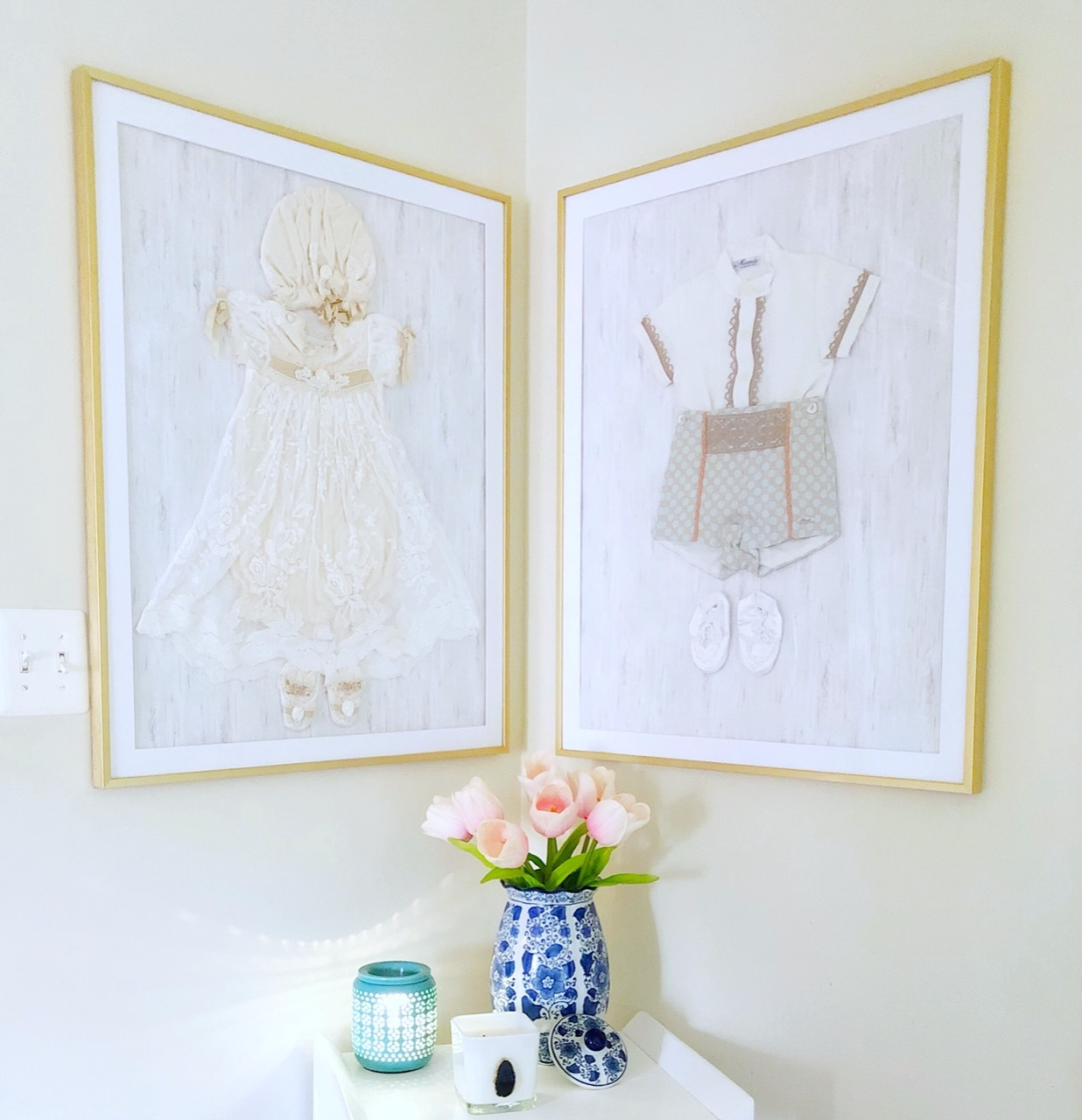 pressed and framed children's clothing
