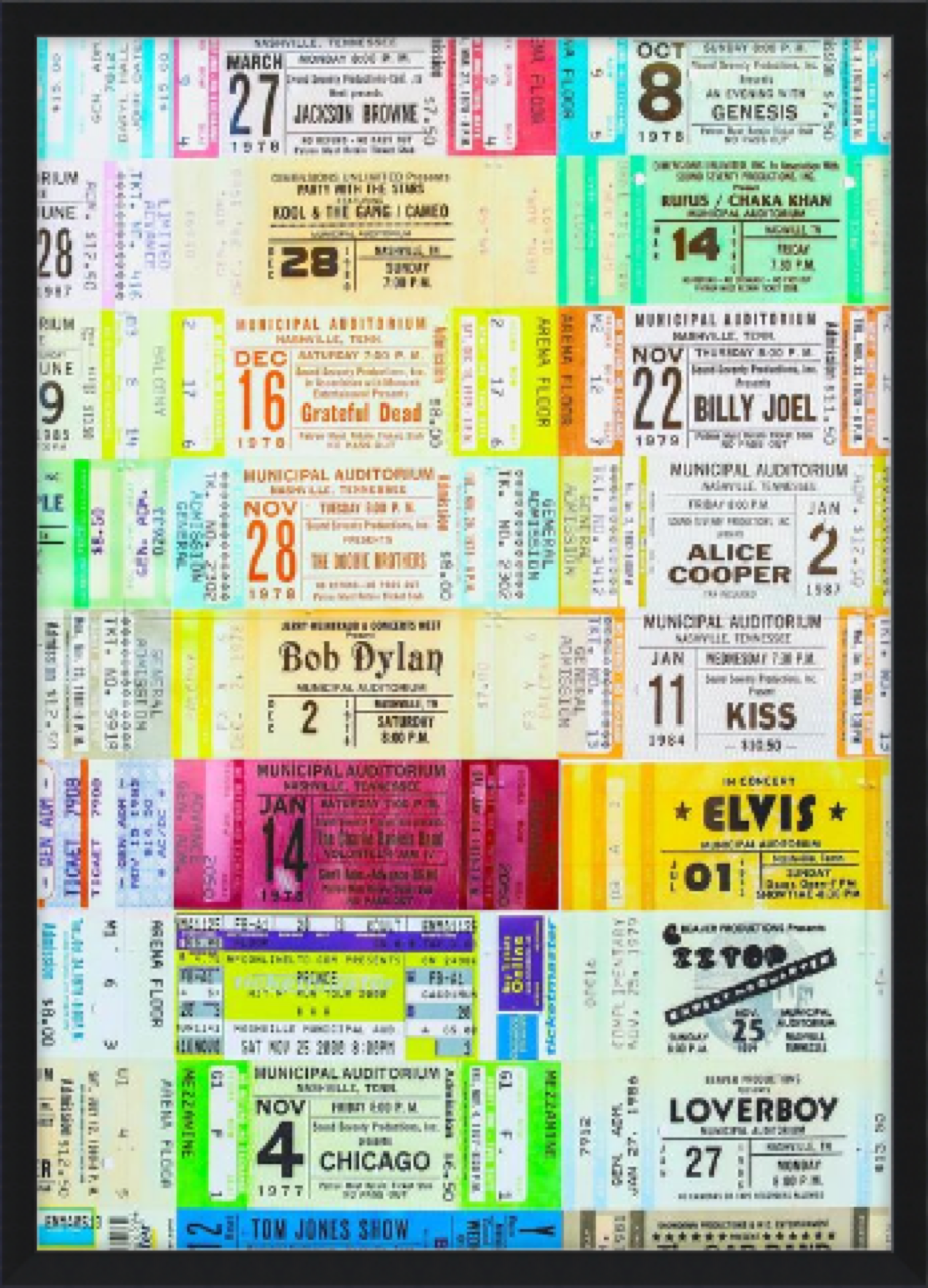 Framed concert ticket collage