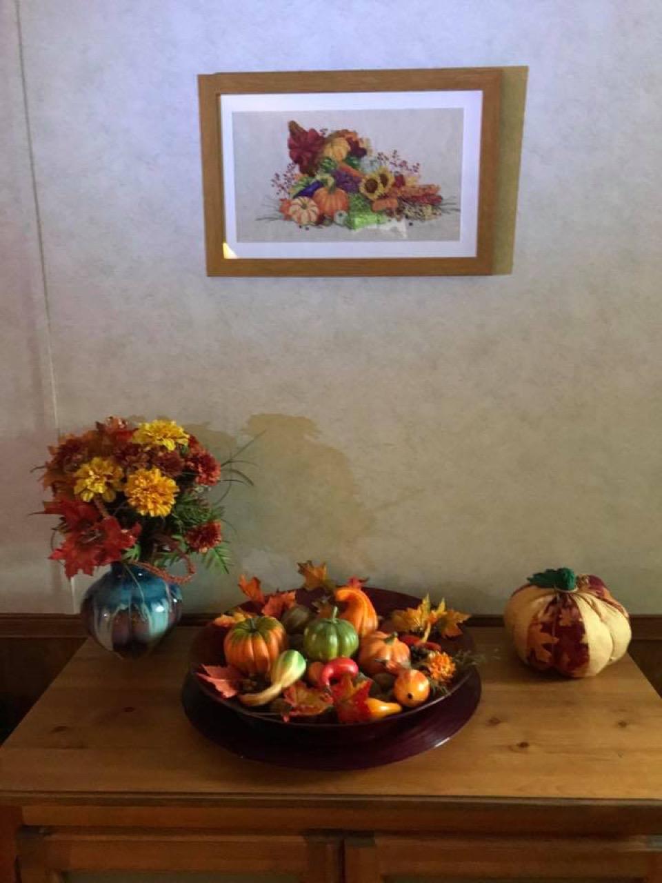 fall themed framed cross-stitch