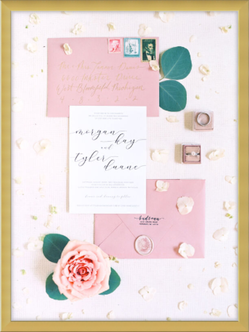 framed wedding invitation