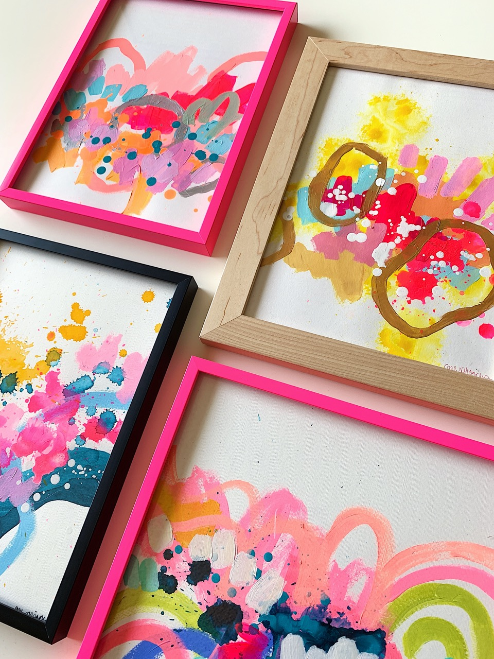 small frames with creative artwork
