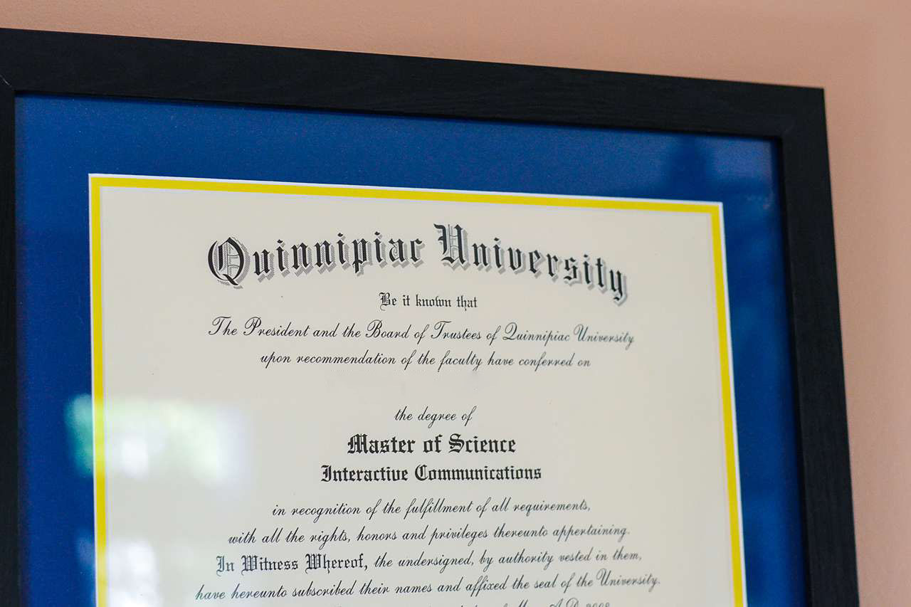College diploma framed for wall