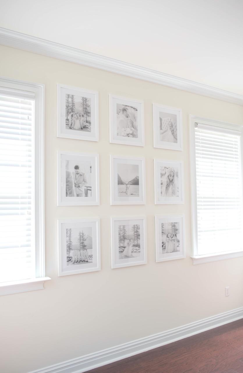 Wedding photos gallery wall