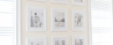 gallery wall of wedding photos