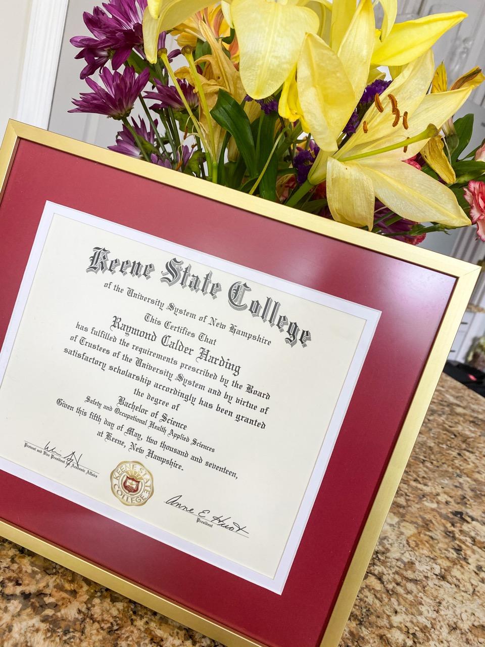 Simple framed diploma