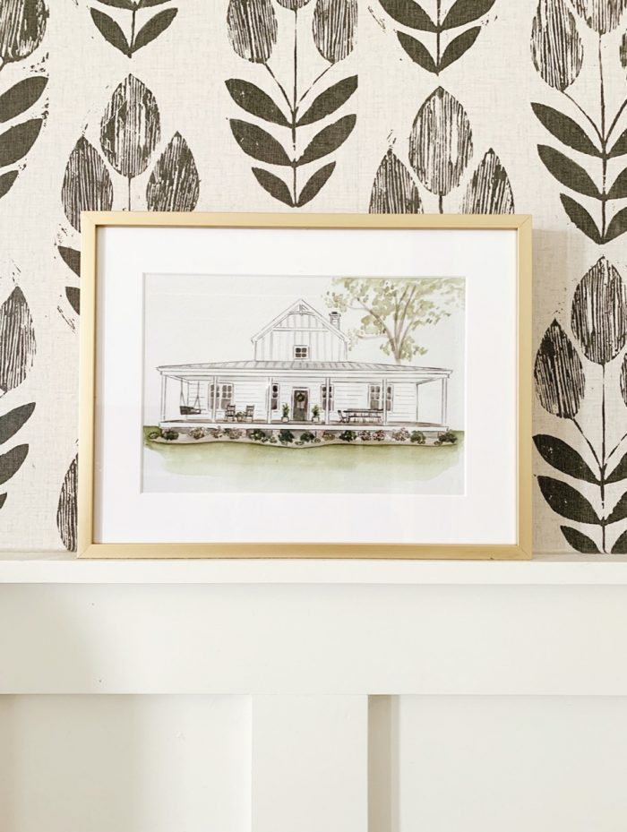 framed drawing with matboard