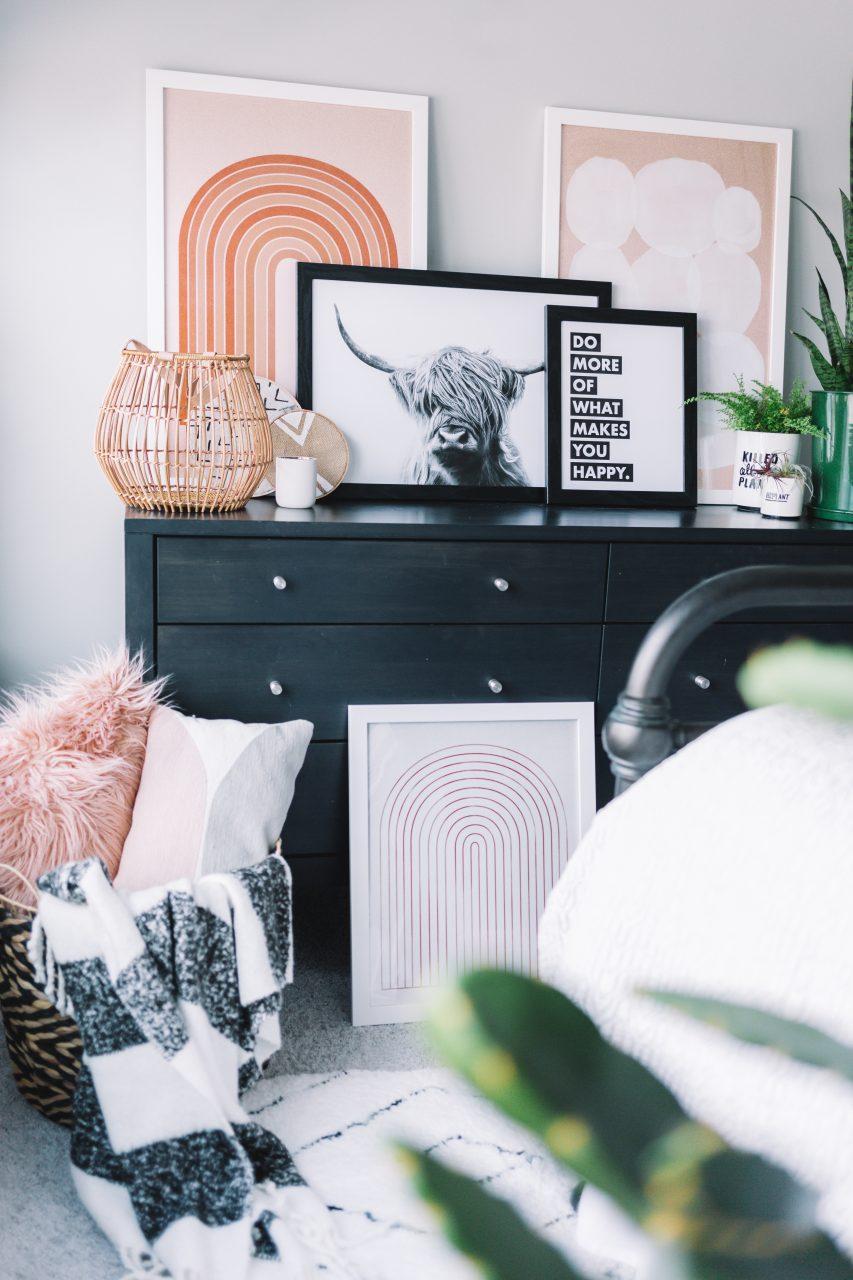 Frames on dresser