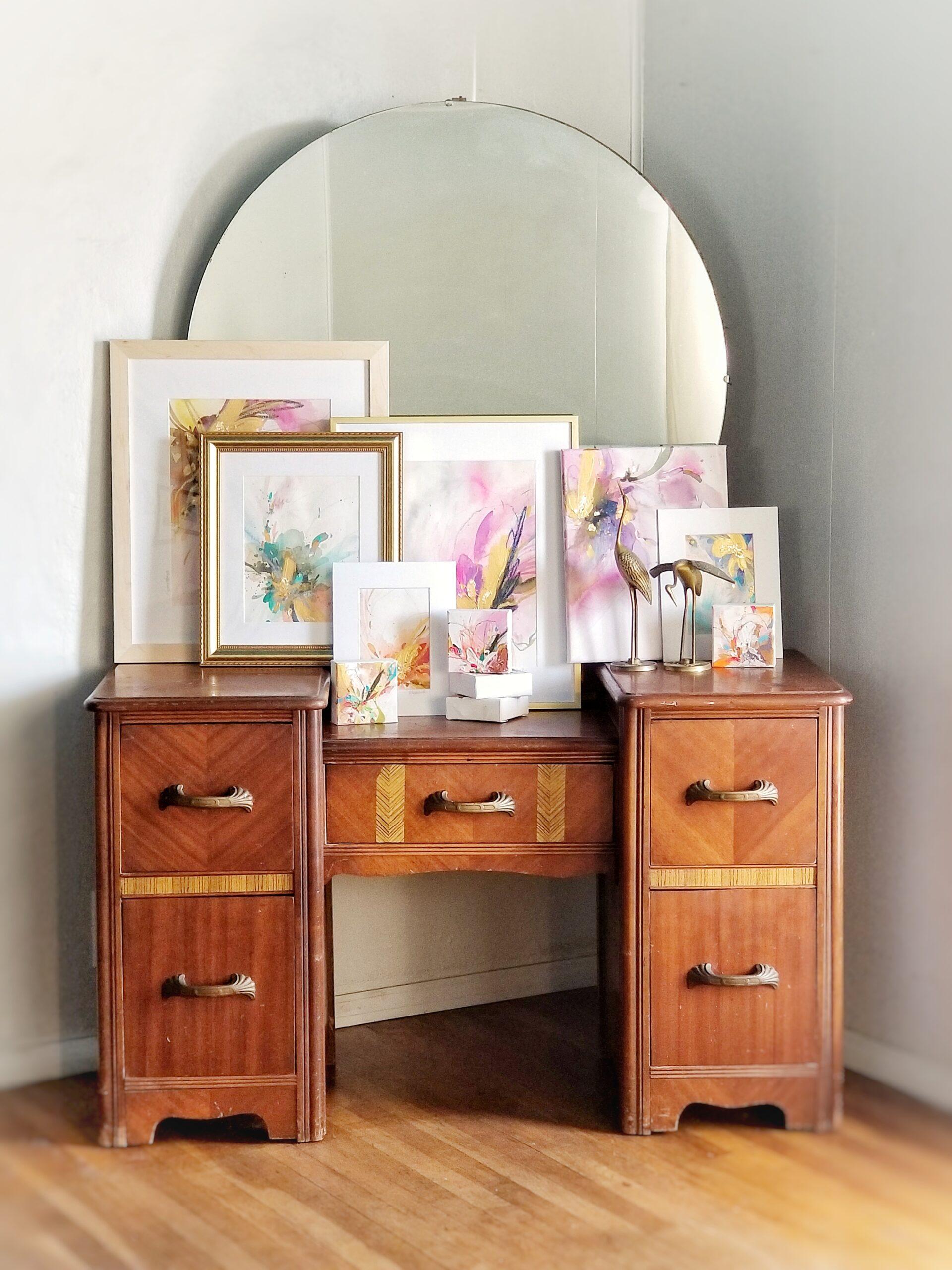 framed display on dresser