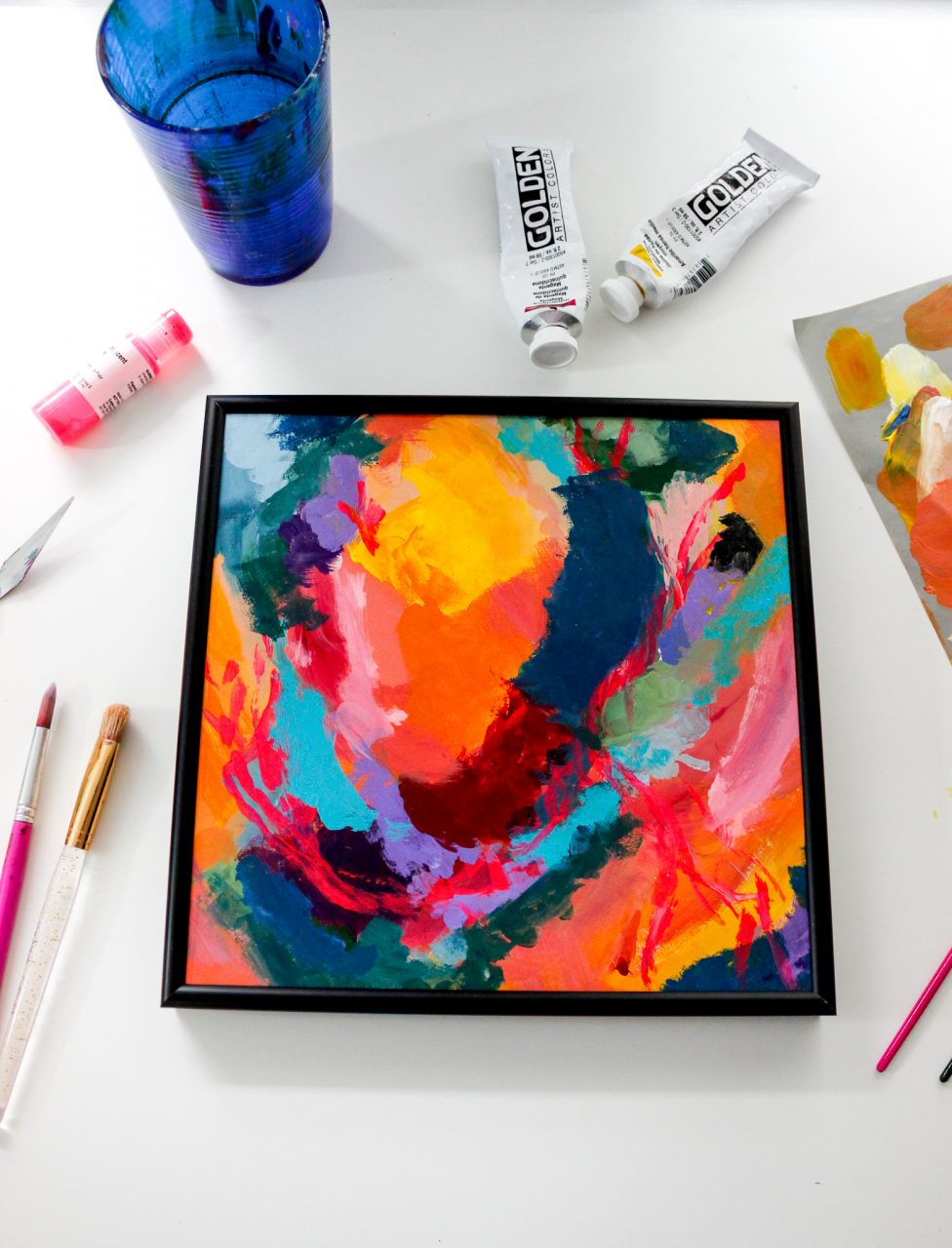 Bright painting framed