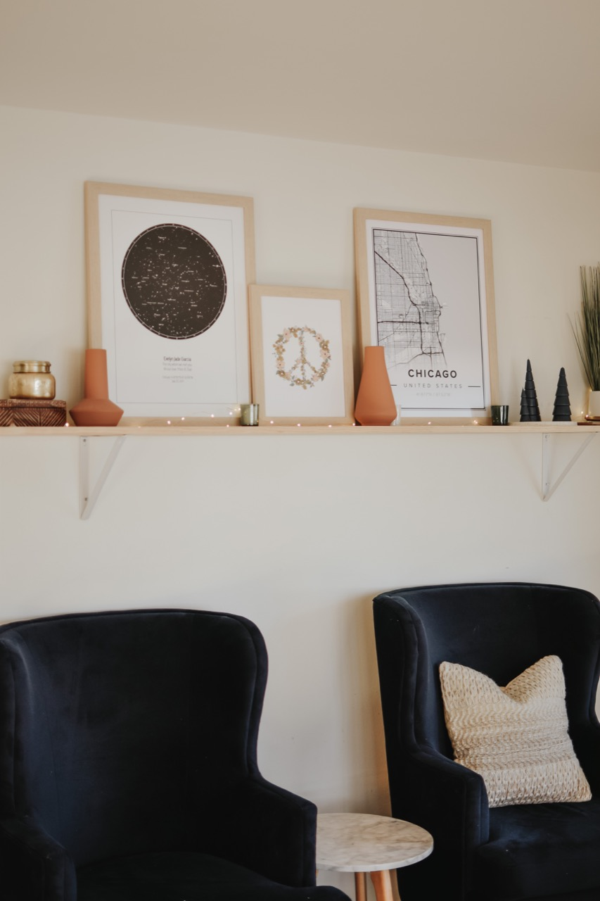 shelves above chairs