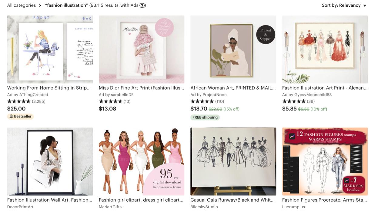 Fashion Illustrations on Etsy