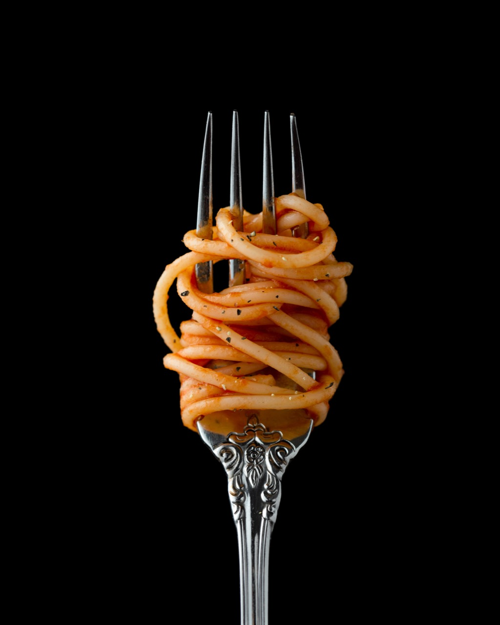 Photo of pasta on a fork
