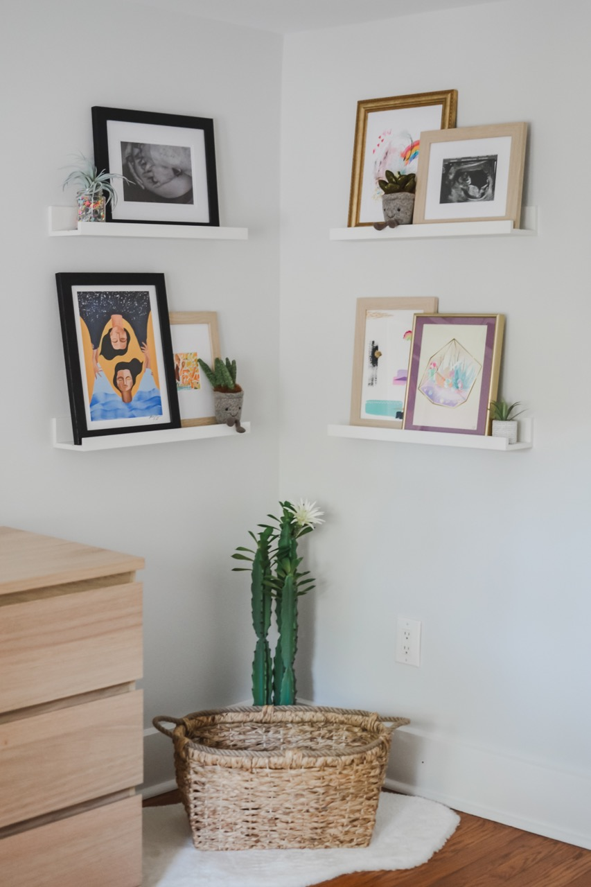 Nursery decor on shelves
