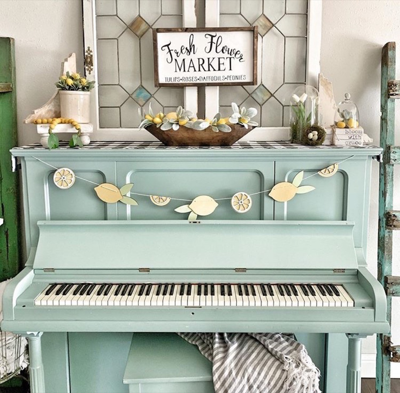 Teal piano decor