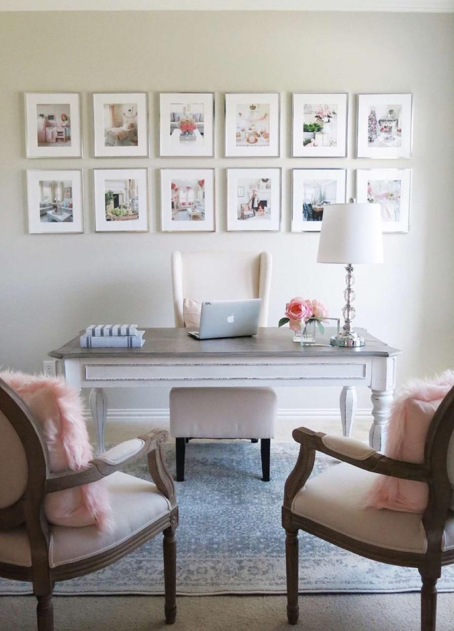 Gallery wall behind desk