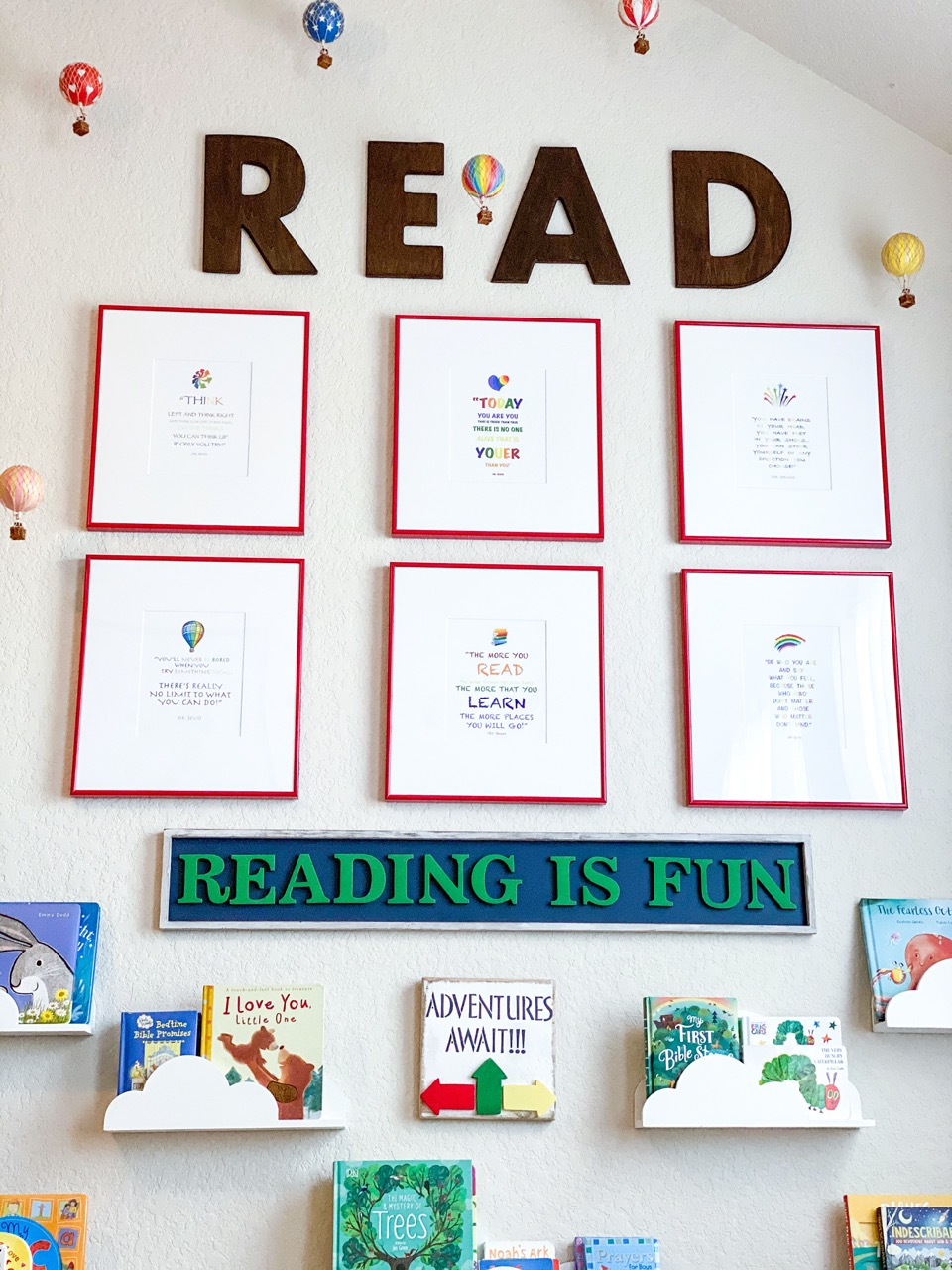 3x2 red frames in reading room