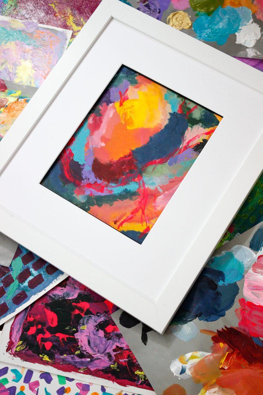 Colorful art framed