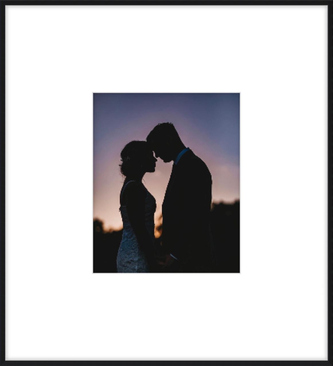 Wedding photo with large mat