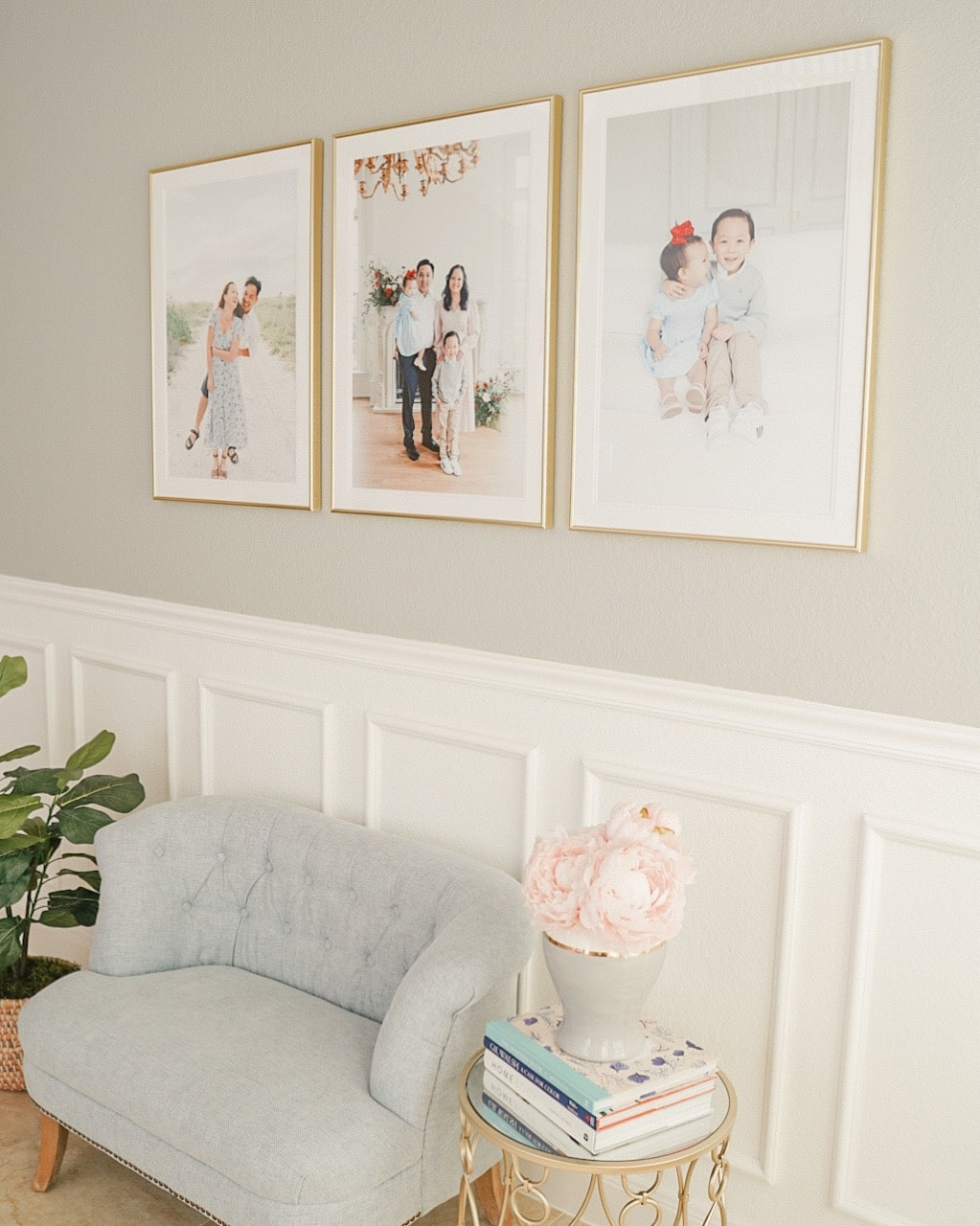 family photos above couch