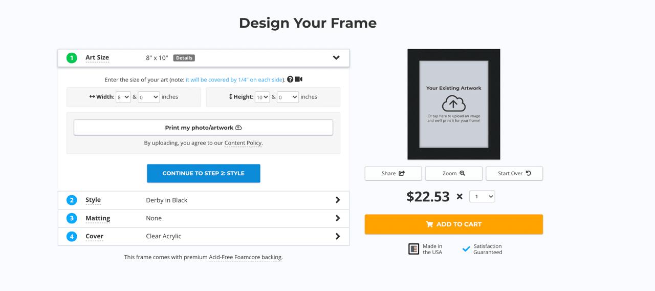 designing your frame