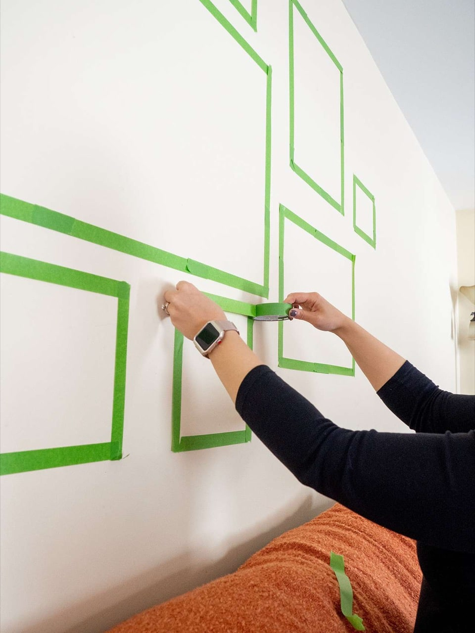 Painter's tape to plan gallery wall