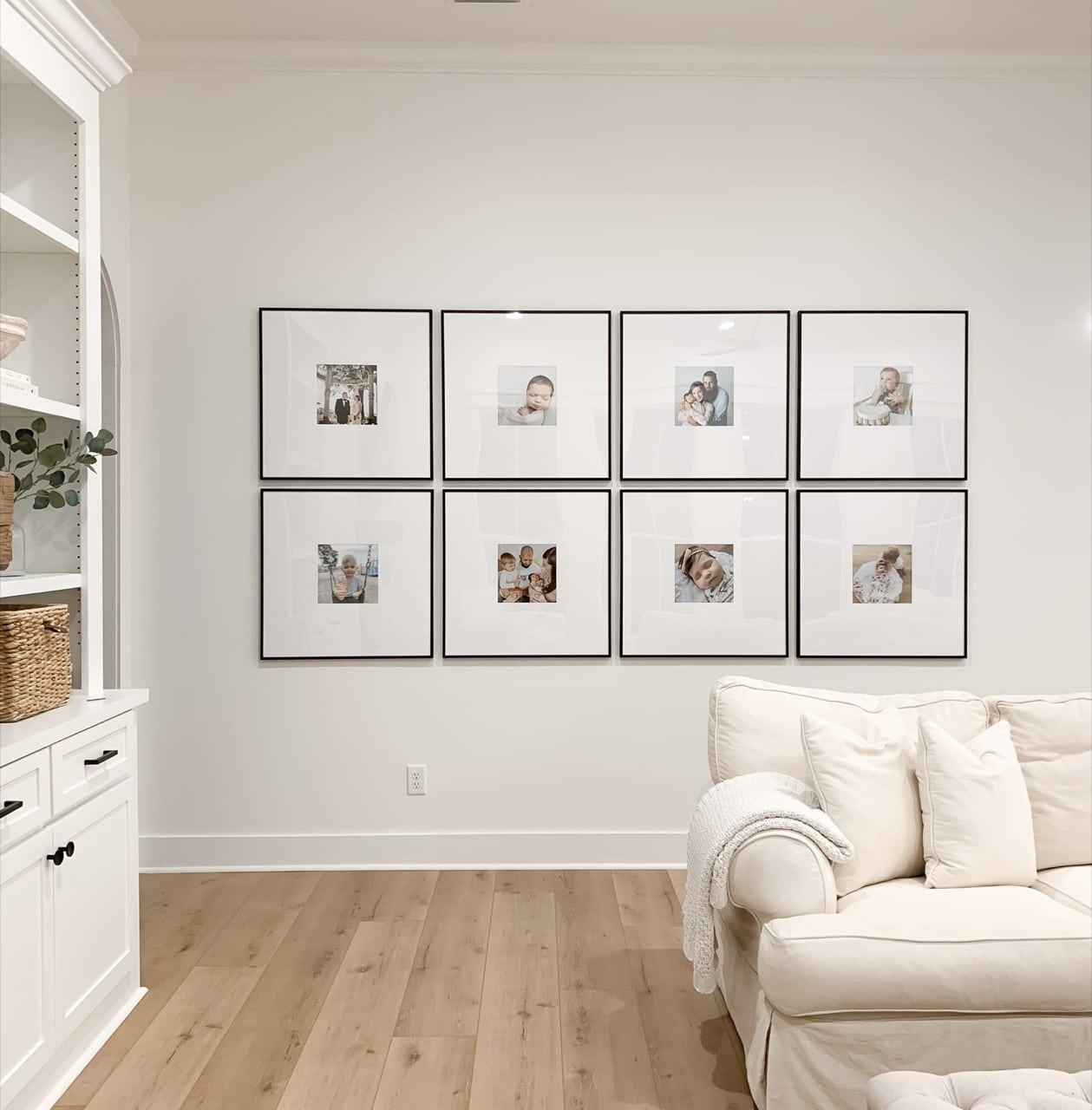 large gallery wall in living room