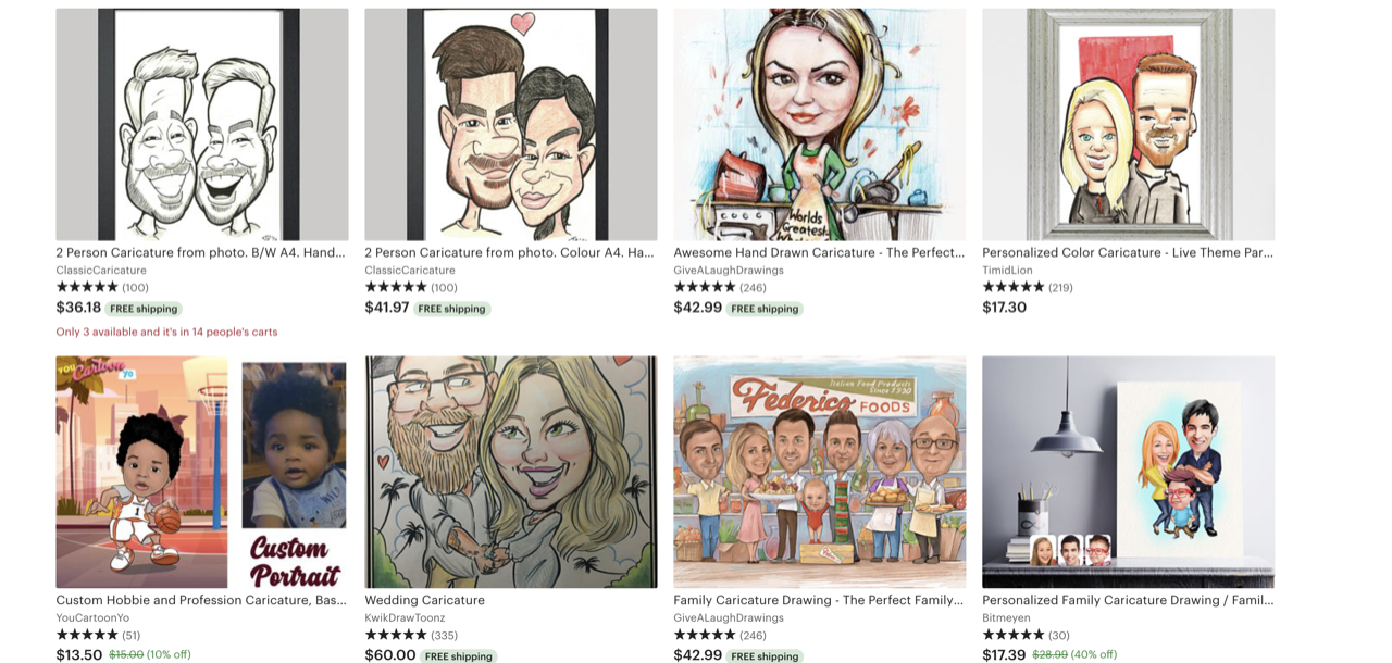 Etsy caricature drawings