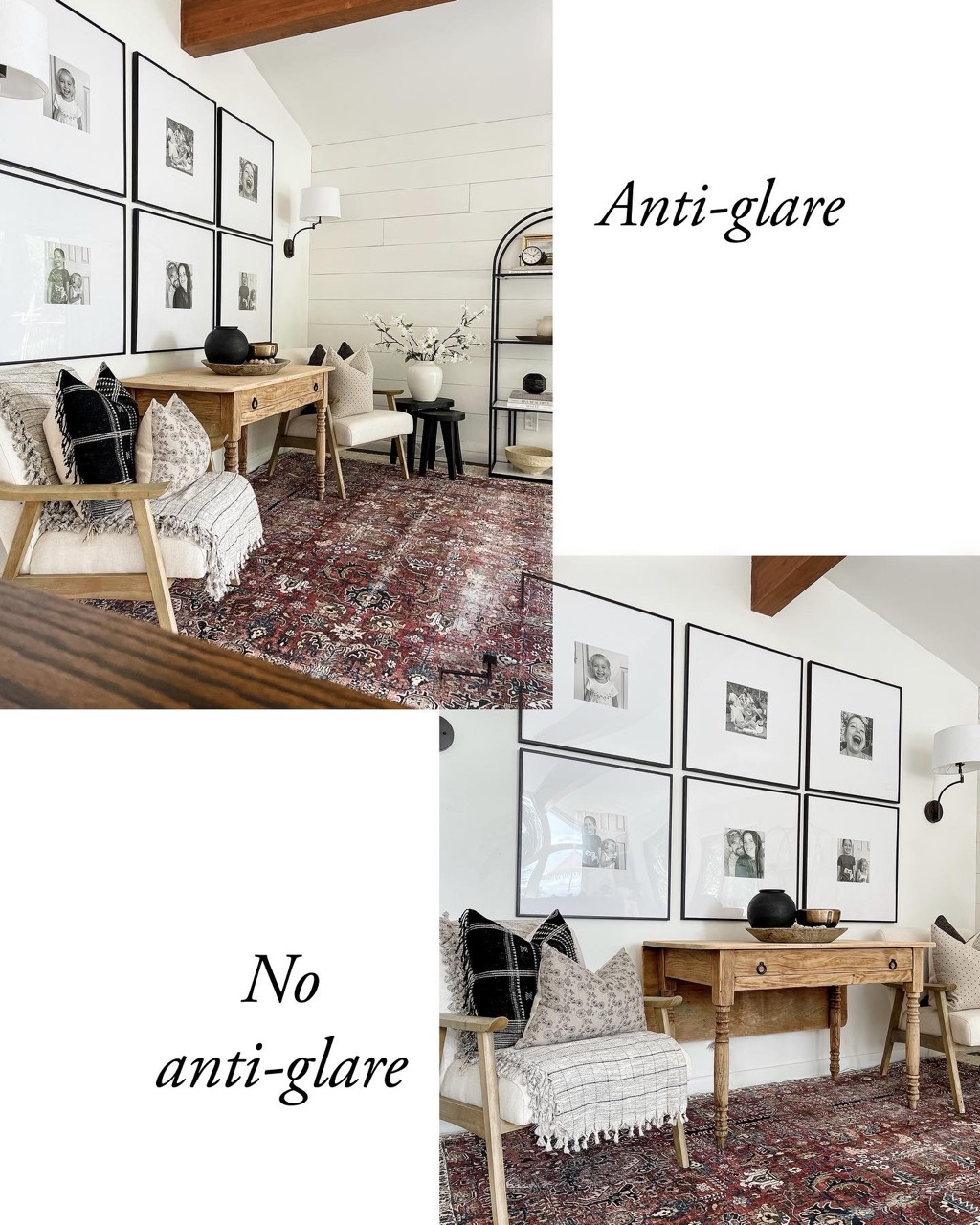 non-glare and clear acrylic frame covers