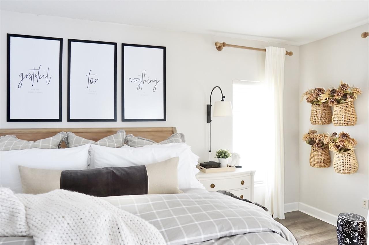 large frames above bed